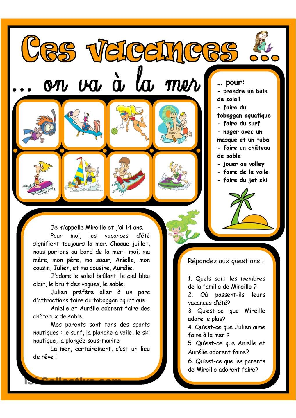 Ces vacances on va ƒ la mer 3 easy french