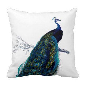 Vintage Blue Elegant Colorful Peacock Throw Pillows