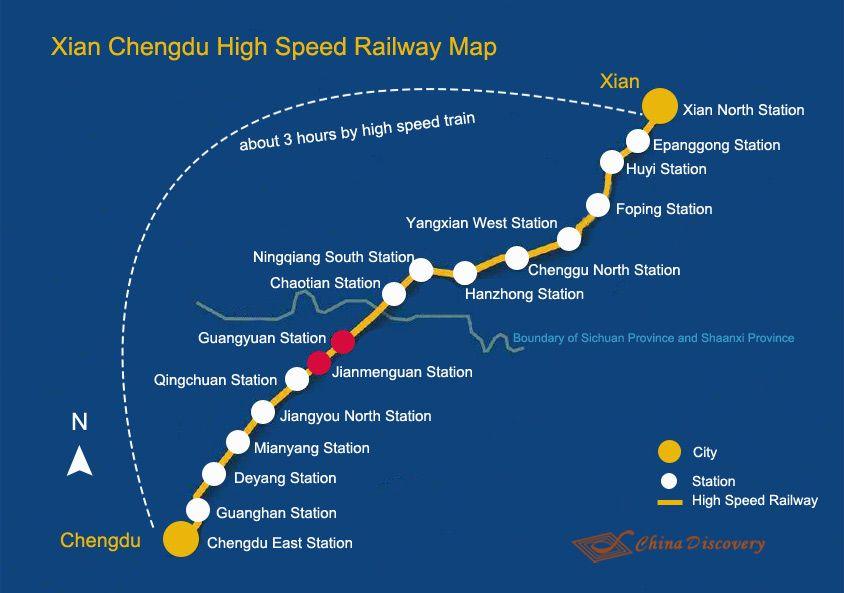 Xian Chengdu High Speed Railway Map Chengdu Xi An China Train