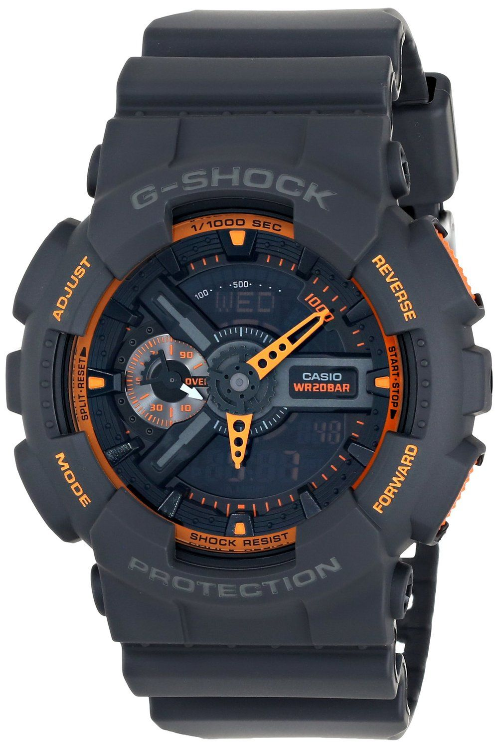 5329a82e066 Amazon.com  Casio Men s GA-110TS-1A4 G-Shock Analog-Digital Watch With Grey  Resin Band  Casio  Watches. Relogio ...