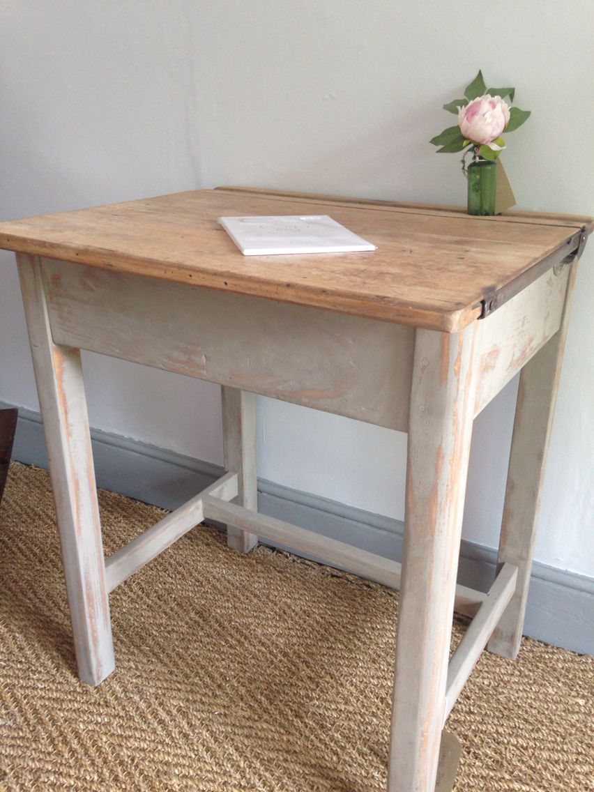 Painted distressed pretty grey old school desk   House & Deco ...