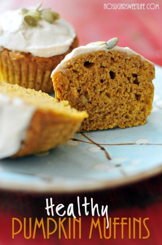 Healthy Pumpkin Muffins! No oil or butter in these fall-inspired babies.