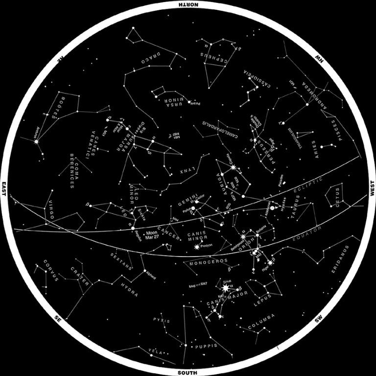 Constellations Of The Northern Hemisphere March Other - Night sky map northern hemisphere