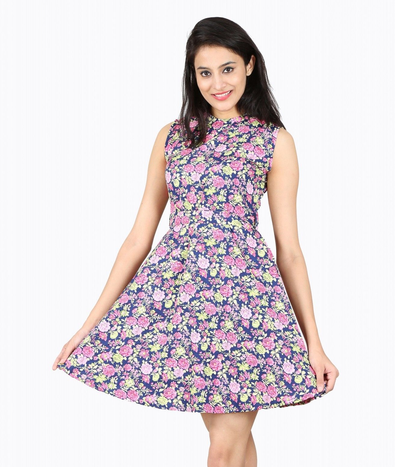 fe85436da5a Buy Nishtag Multicolor Floral Printed Sleeveless Knee Length Dress Online  at Low prices in India on