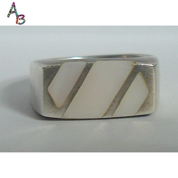 Sterling MOP Inlay Unisex Ring Mother of Pearl by AtticBasement, $22.00