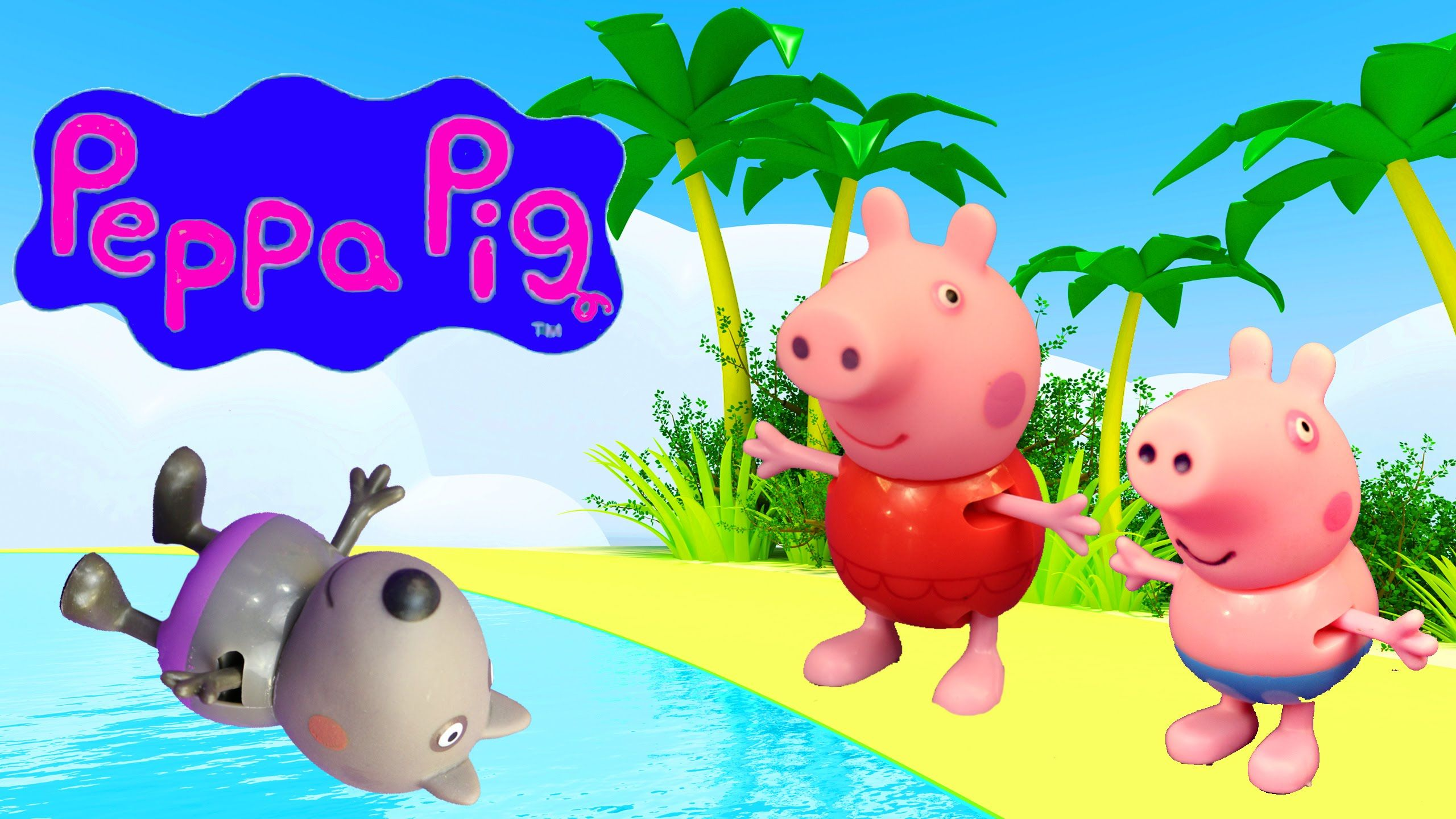 Peppa Pig Beach Holiday Vacation Candy Cat & George Pig SHARK .
