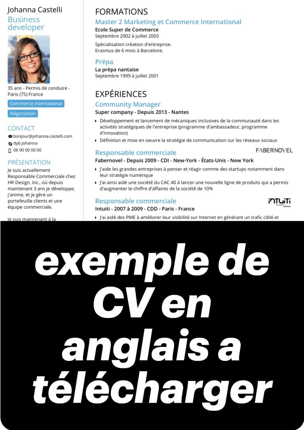 exemple de cv en anglais word a t u00e9l u00e9charger exemple de cv