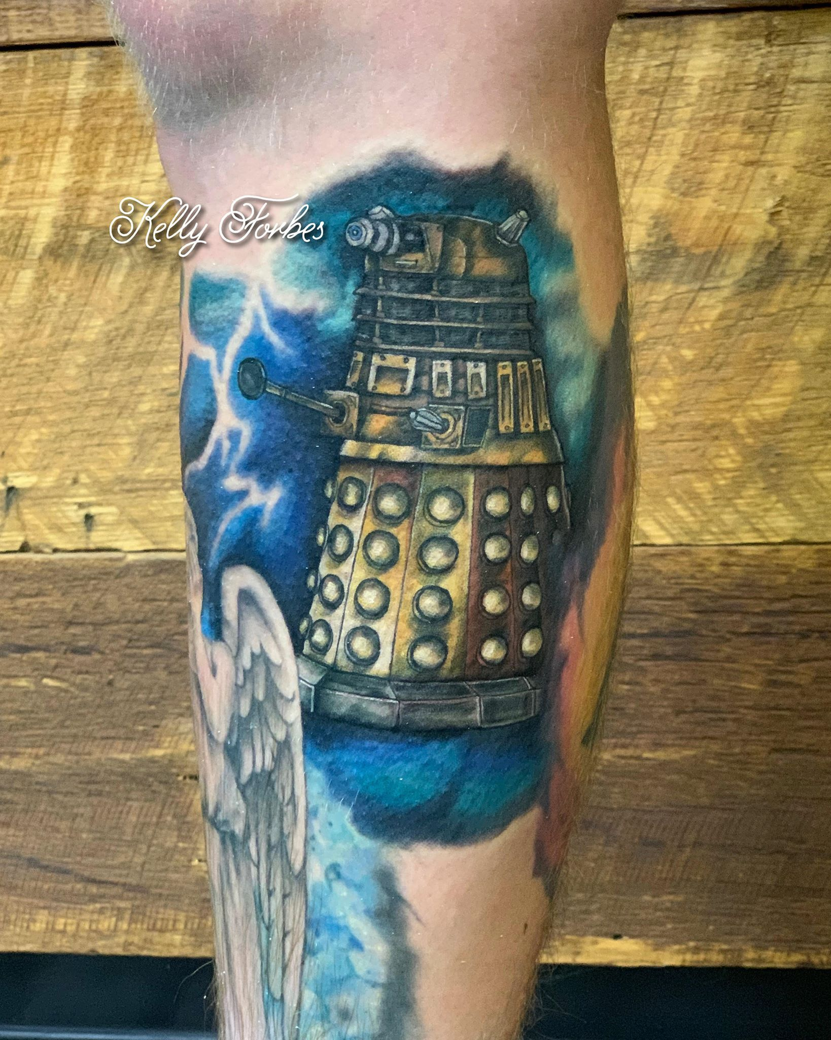 Done by our Apprentice: @kelly.forbes.tattoos  For bookings with Kelly, please email: kellyforbestattoo@gmail.com .  #doctorwho #tardis #whovian #thedoctor #tattoo #ink #colortattoo #inked #tattoos #art #inkedmag