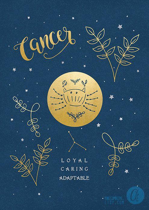 Cancer Zodiac Art Print Star Sign Astrology Gifts By AbbieImagine