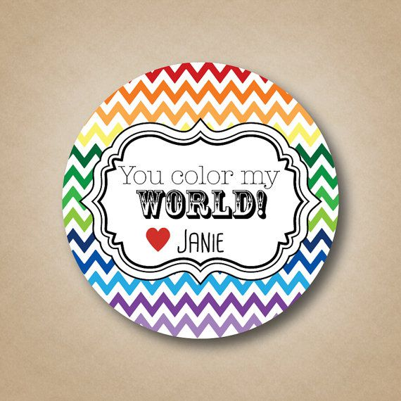 You Color My World Valentine Favor Stickers Crayon Favor Label Rainbow  Chevron Stickers Custom Valentine Labels Kids Valentine Stickers Tags