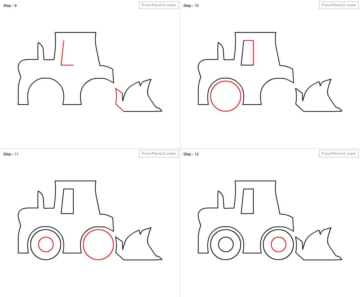 How to draw Bulldozer for kids - slide 3 - Click to enlarge | How to ... for Xylophone Drawing For Kids  177nar
