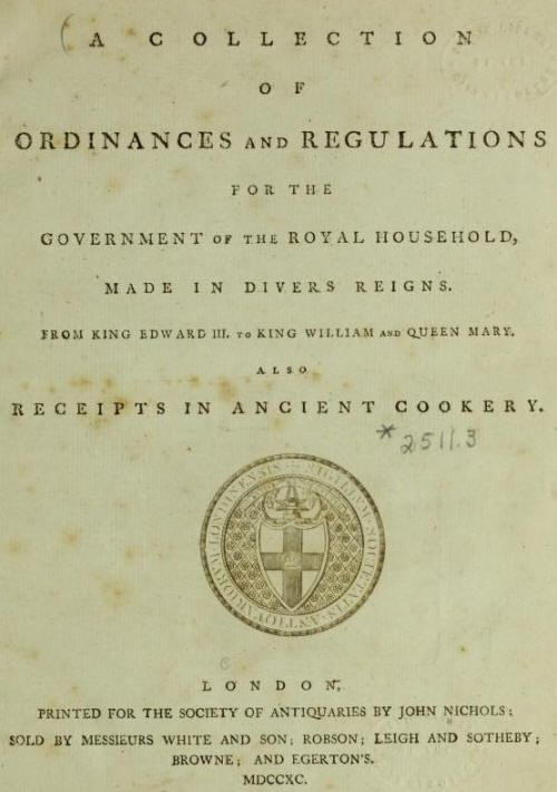 Receipts in ancient cookery