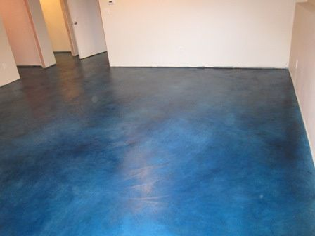 Navy Blue Acid Stain Concrete Floors | Found on aceconcretefinishing.com