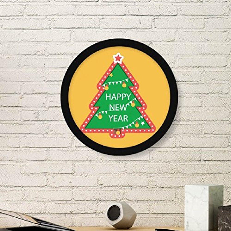 Merry christmas tree cartoon portrait round picture frame art prints