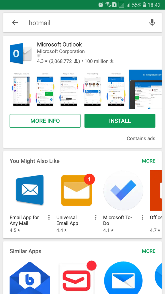 How to install and access Hotmail on Android mobile device