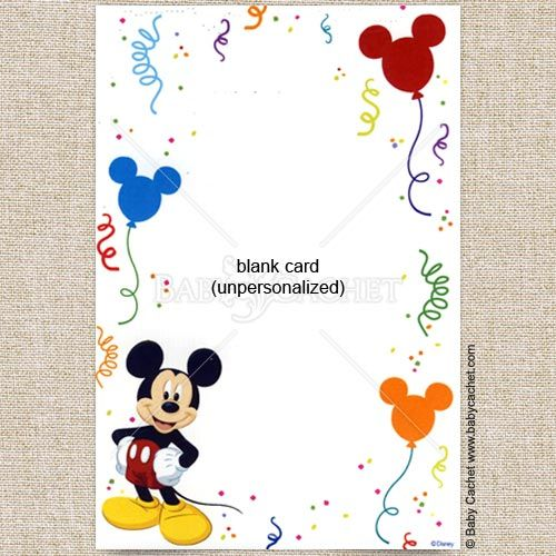 Cool Blank Mickey Mouse Baby Shower Invitations – Mickey Mouse Birthday Cards