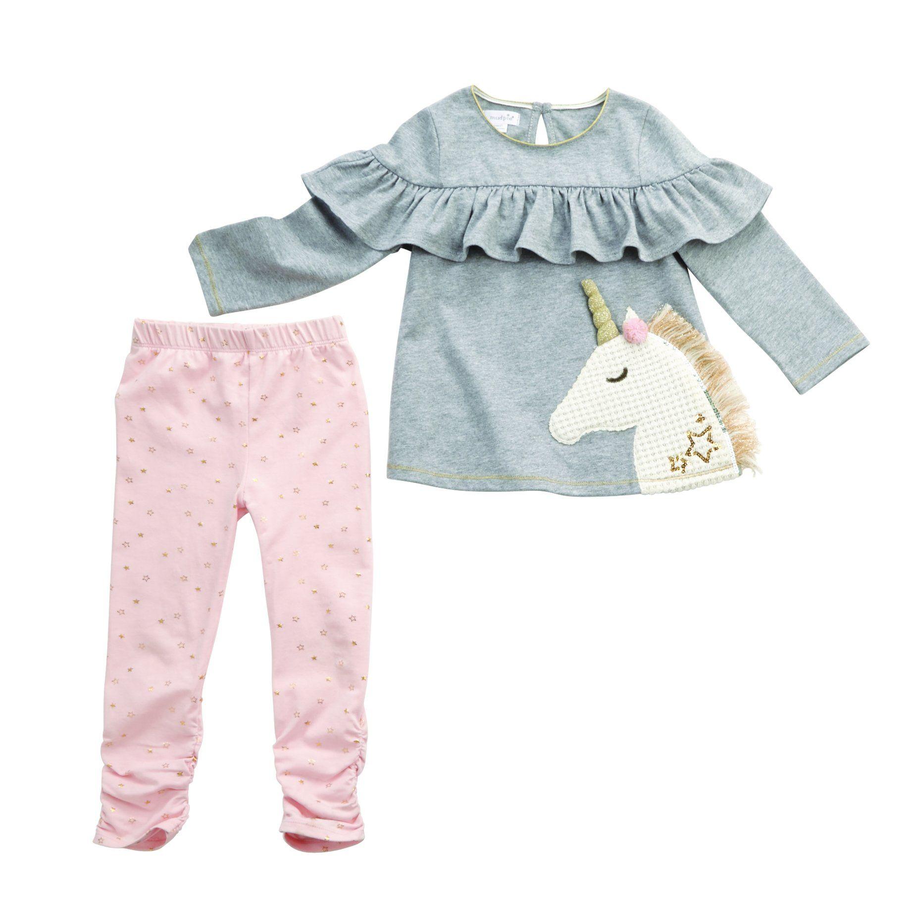 37c2484cdc380b Mud Pie Sparkle Unicorn Tunic & legging set | Baby Girl Sleepwear ...