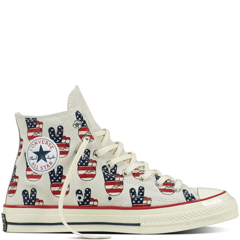 Big Deals Converse Chuck Taylor All Star '70 High Election Day mens Egret / Red Blue Converse Mens Converse