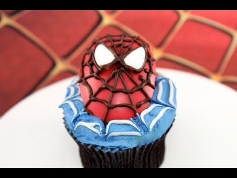 Awesome Spiderman Cupcakes - learn how to make them here!   This tutorial and more available for FREE on our YouTube channel MyCupcakeAddiction