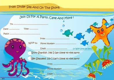 Free Printable Under The Sea Or Mermaid Birthday Party Invitations