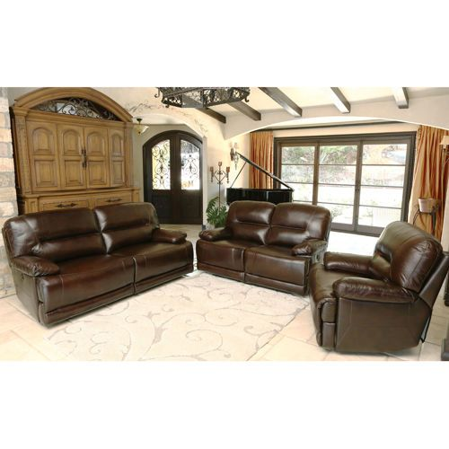 bayridge 3-piece top grain leather power-reclining set | family