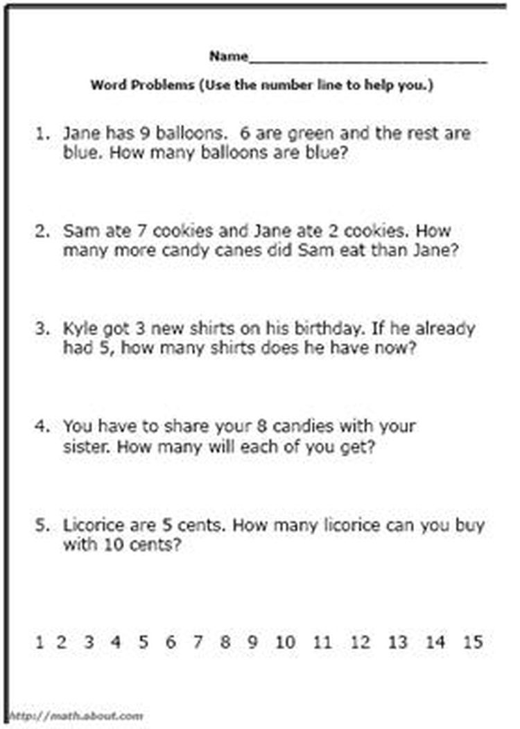 Word Problem Worksheets for First Grade Math First grade