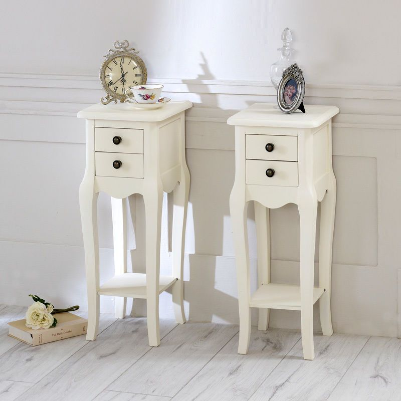 Pair of Ivory slim 2 bedside tables shabby vintage chic ornate ...