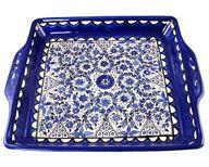 Serving Tray - Blue and White Floral Circles. Armenian Ceramic , Home Decor   Judaica Web Store