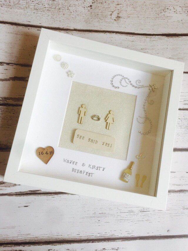 1 Engagement frame, she said yes, box frame, engagement gift ...