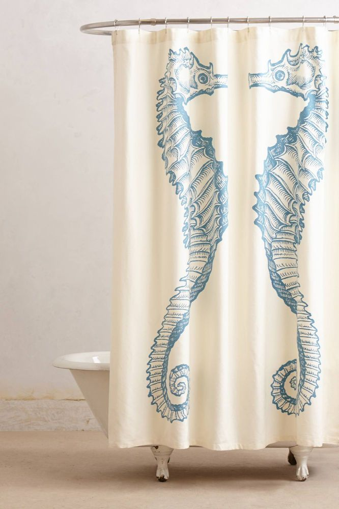 Anthropologie Reflected Seahorse Shower Curtain Ivory Blue