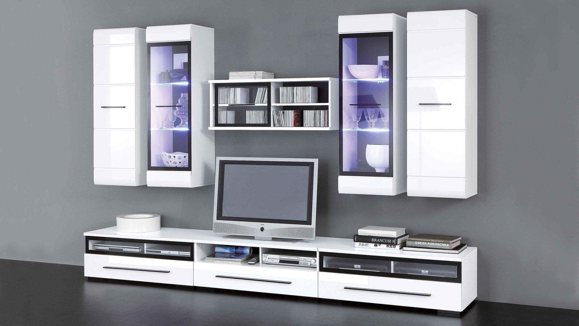 Mit Dieser Wohnwand Inclusive LED Beleuchtung Verleihen Sie Ihrem  Wohnzimmer Ein Ambiente Mit Klarer Linienführung