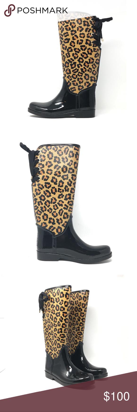 coach leopard rain boots