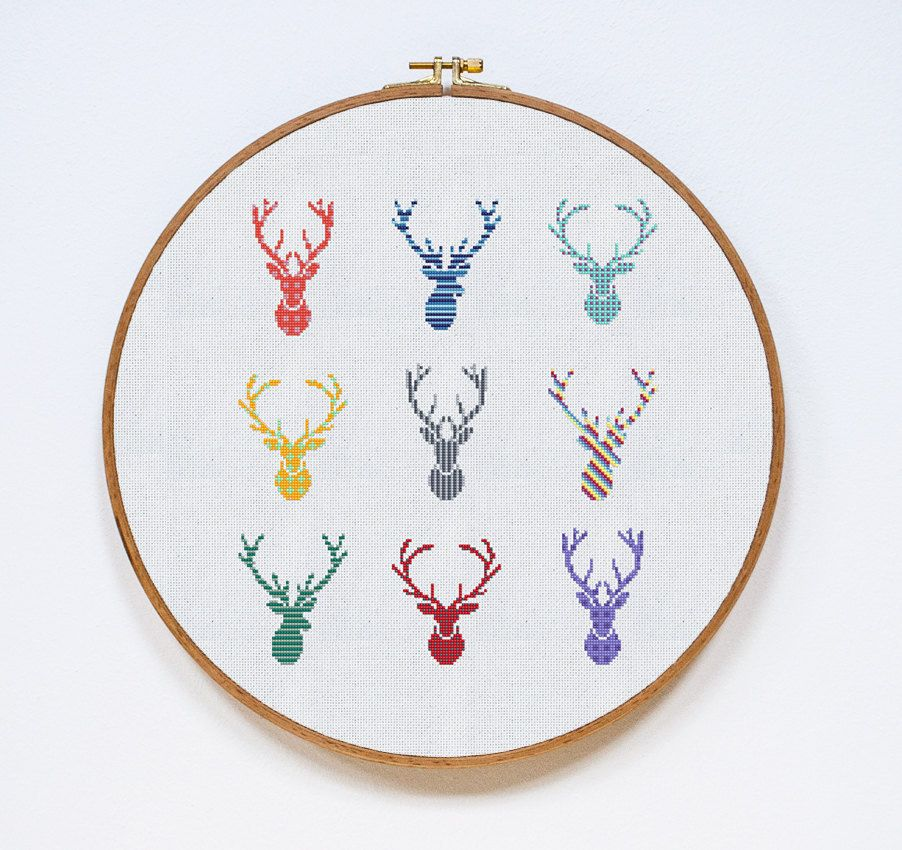 deer cross stitch pattern horns modern cross stitch. Black Bedroom Furniture Sets. Home Design Ideas
