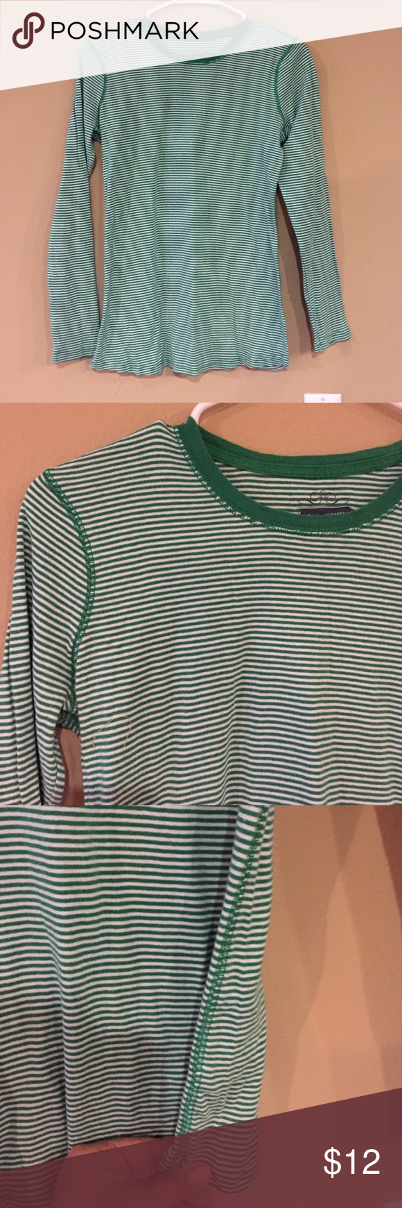 "Maternity striped long sleeve tee Green and white long sleeve 15.5w x 24.5"" front length super soft and stretchy marked size small fits like a medium Old Navy Tops Tees - Long Sleeve"