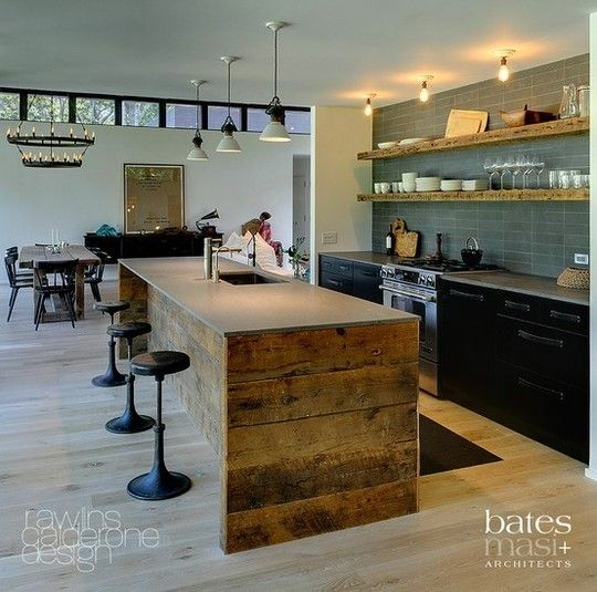 contrasting reclaimed wood within the modern home