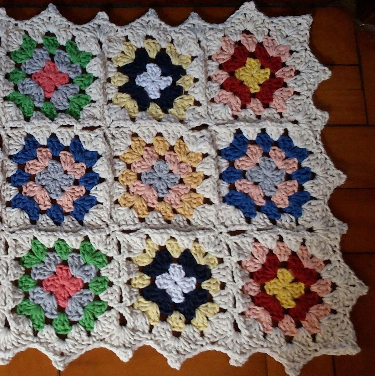 Tapete retangular Colorido Crochê square