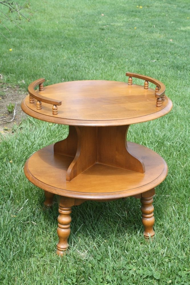 Mid Century Rock Maple 2 Two Tier Round Display Table Table Mid Century Modern Furniture Painted Furniture