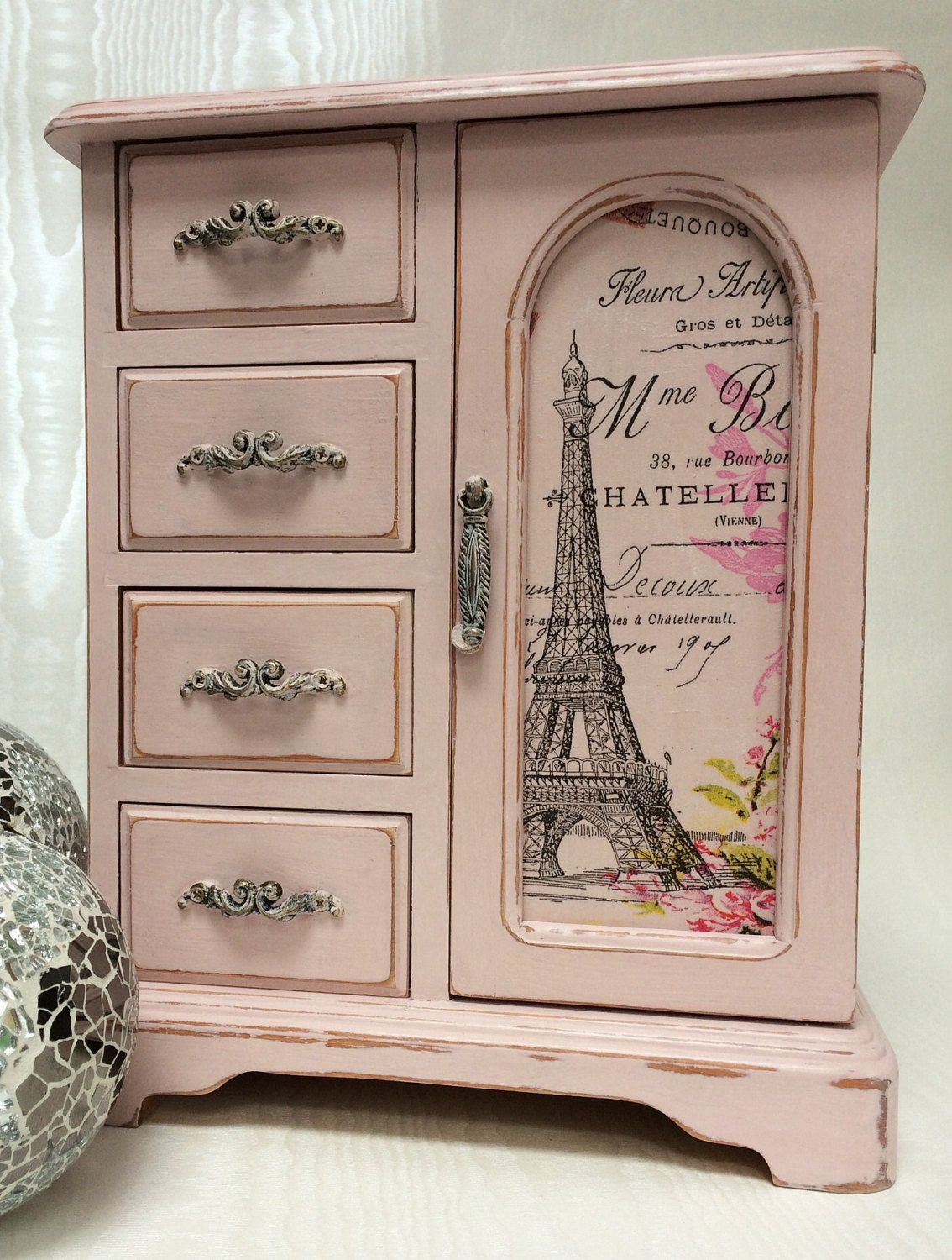 Parisian Themed Vintage Jewellery Box By Livvysloft On Etsy Painted Jewelry Boxes Vintage Jewelry Box Jewelry Box Makeover