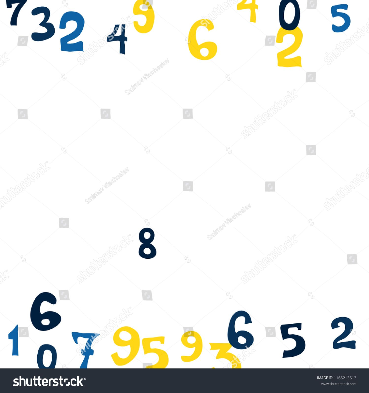 falling colorful numbers on white background abstract