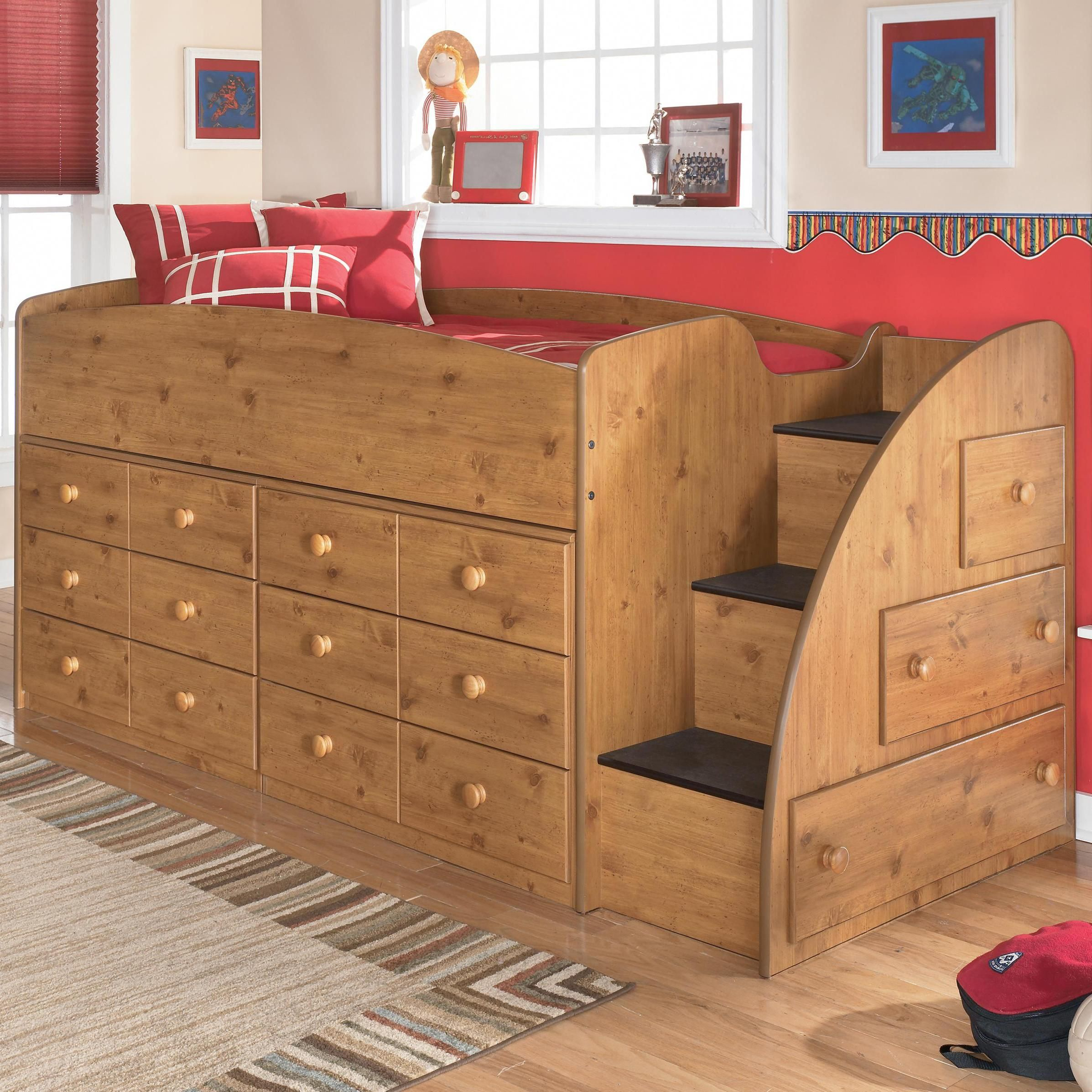 Stages Twin Loft Bed With Right Steps Chest Storage By Signature Design By Ashley Becker