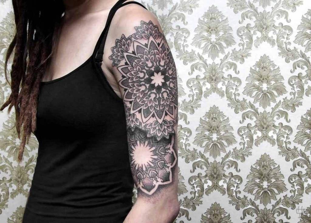 Half Sleeve Simple Mandala Flower Tattoo For Hot Girl