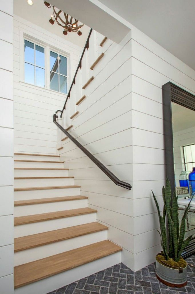 Shiplap Stairs Newport Harbor View Blackband Design Coastal Living Rooms Stairs Beach House Design