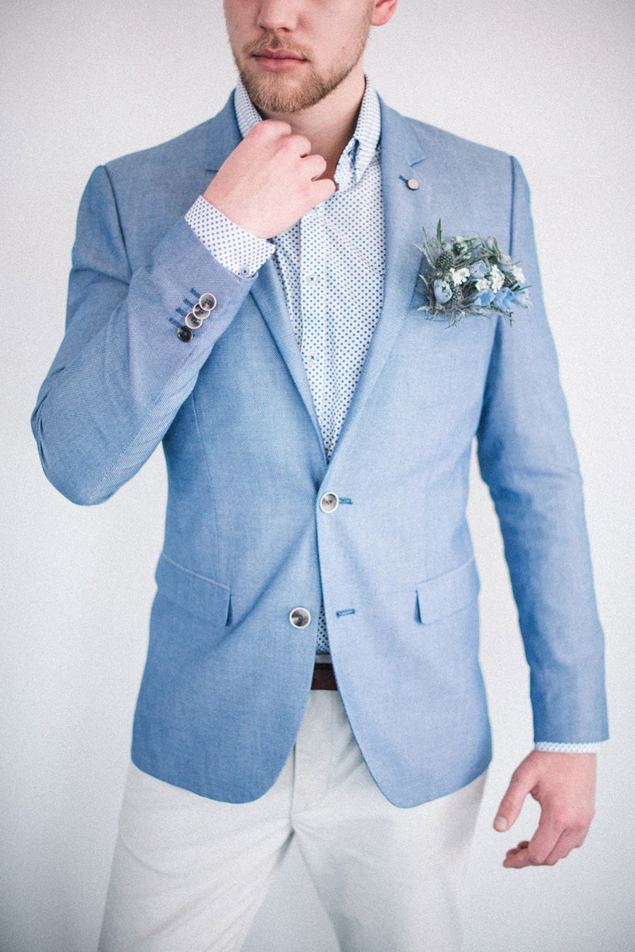 Powder blue groom's suit // Sailing Club Styled Shoot With Hues of Powder Blue