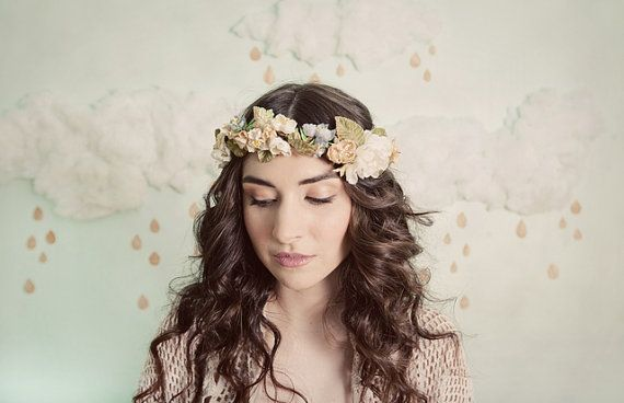 Tiny blossoms flower crown in blue, yellow and beige, style 306
