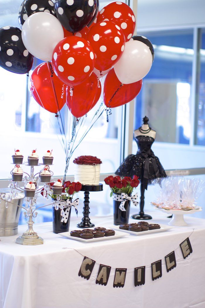 Black White Red Elegant Birthday Party Niver Pinterest