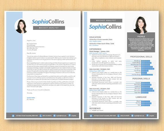 Blue Chart Photograph Modern Microsoft Word Printable Resume (1 and - resume 1 or 2 pages