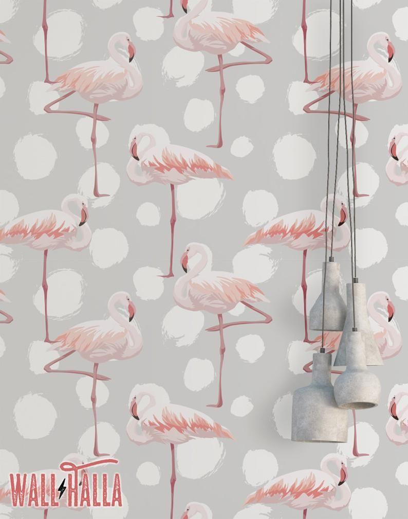 Flamingo Dots Wallpaper Removable Wallpaper Pink Flamingos Etsy In 2021 Dots Wallpaper Flamingo Wallpaper Pineapple Wallpaper