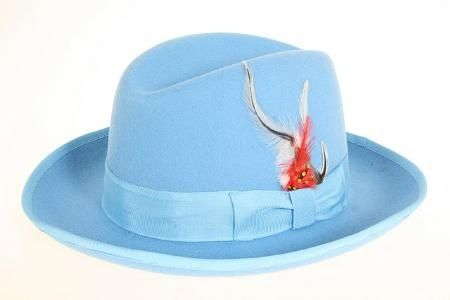 3e2f8aa0 This #ferrecci #Men's #sky blue #wool felt #fedora #hat features  100-percent #wool felt construction in a #sky blue finish and also features  #crown with ...