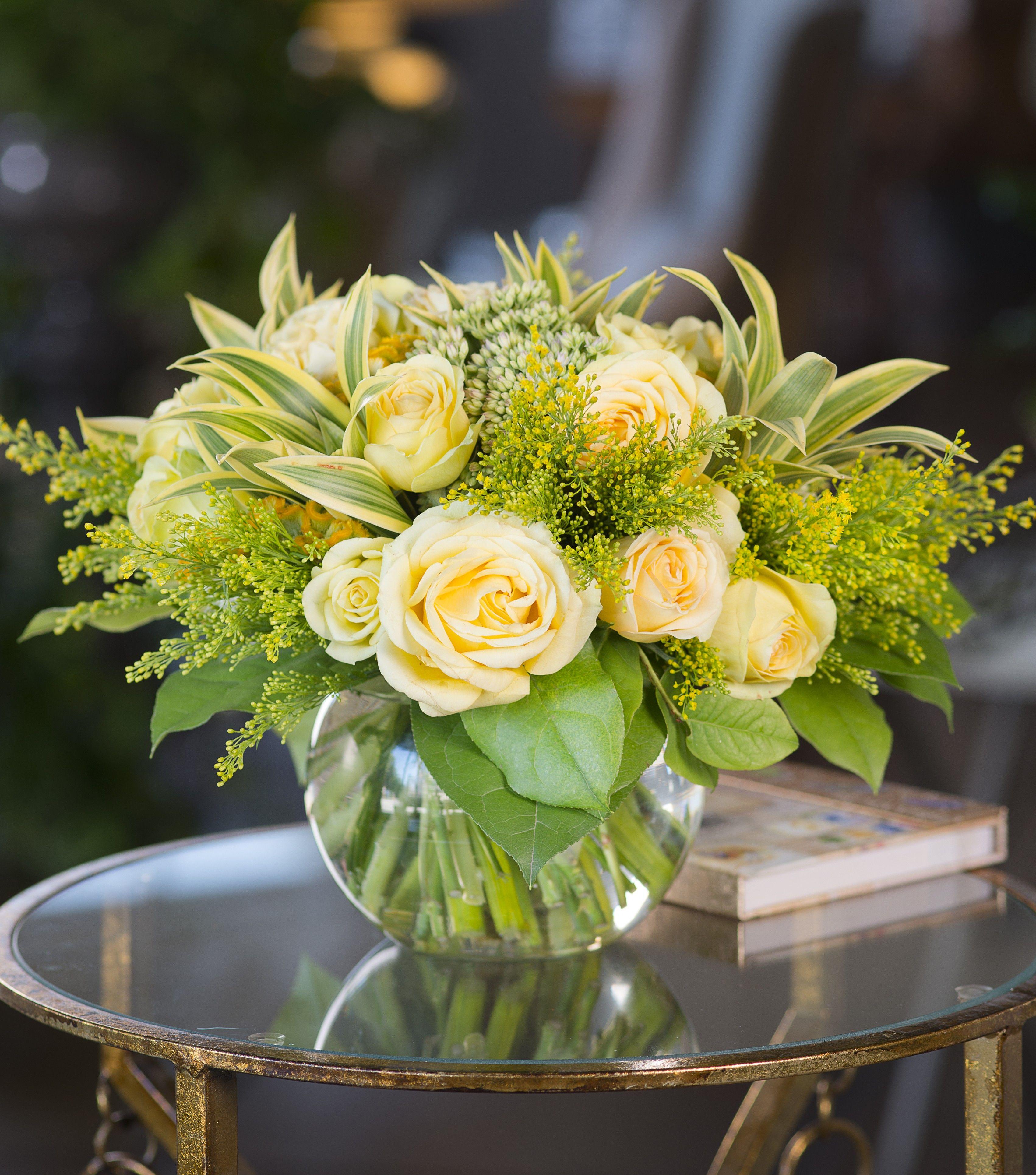 Yellow Rose Bowl Bouquet Floral Arrangement Yellow Roses