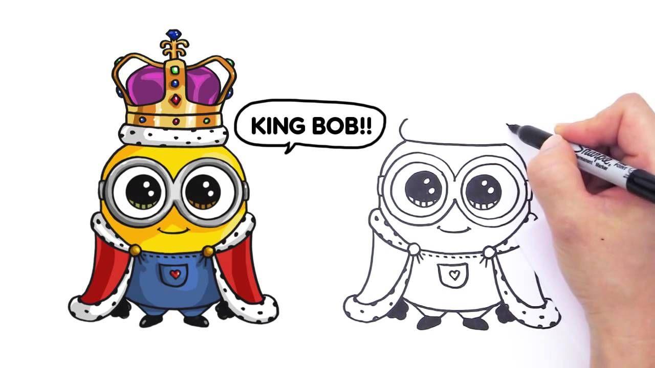 How To Draw Minion King Bob Cute Step By Step How To Draw Minions King Bob Minions